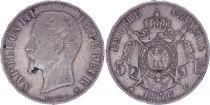 France 5 Francs Napoléon III - Tête nue - 1856 BB - Argent - TB+