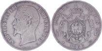 France 5 Francs Napoléon III - Tête nue - 1856 BB - Argent - TB