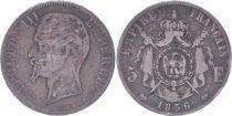 France 5 Francs Napoléon III - Tête nue - 1856 D - Argent - TB - 2e ex.