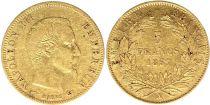 France 5 Francs Napoléon III - Tête nue - 1857 A Or