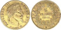 France 5 Francs Napoléon III - Tête nue - 1865 BB Strasbourg- Or