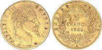 France 5 Francs Napoléon III - Tête nue - 1866 A - Or