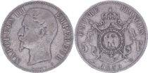 France 5 Francs Napoléon III - Tête nue 1855 A Paris - Argent - TB