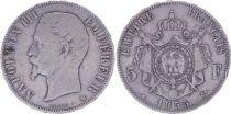 France 5 Francs Napoléon III - Tête nue 1855 BB Strasbourg - Argent - TB - 2e ex