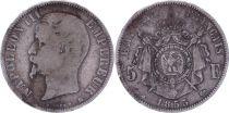 France 5 Francs Napoléon III - Tête nue 1855 BB Strasbourg - Argent - TB