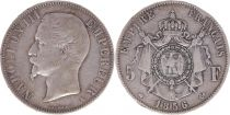 France 5 Francs Napoléon III - Tête nue