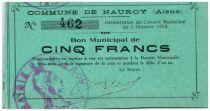 France 5 Francs Nauroy Commune - 1914