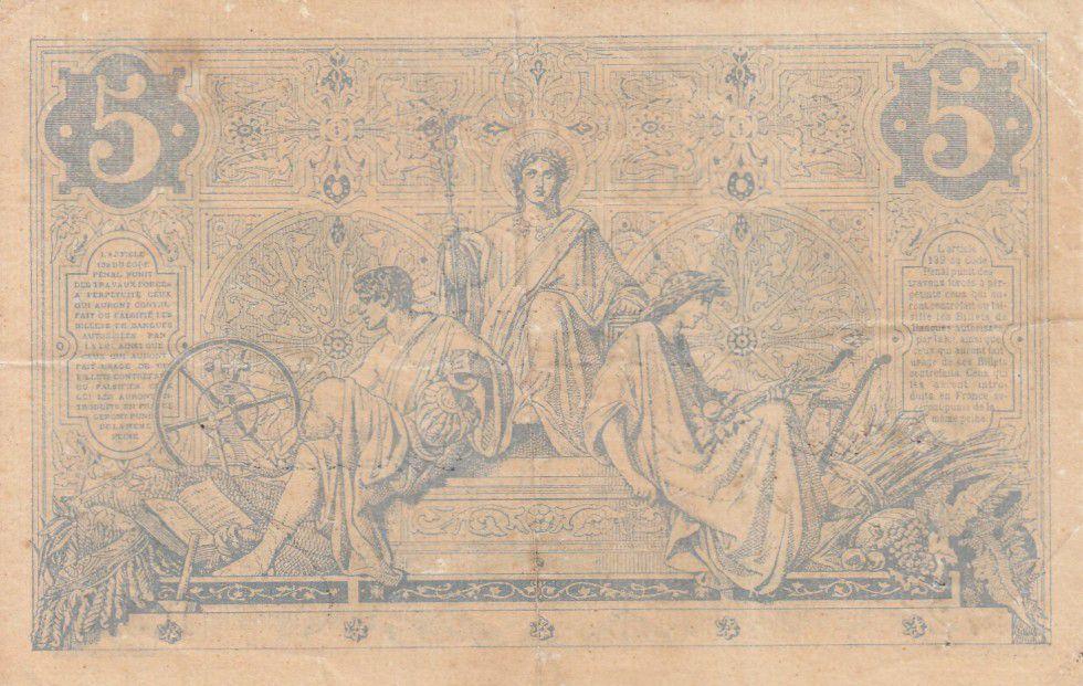 France 5 Francs Noir - 06-12-1873 Série D.3267