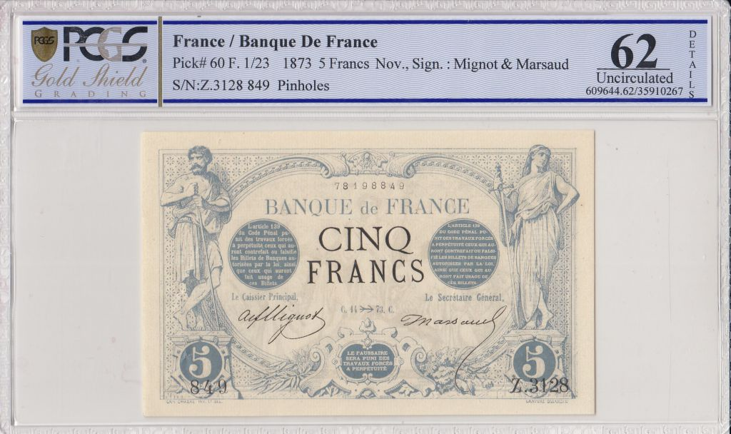 France 5 Francs Noir - Nov 1873 - PCGS 62