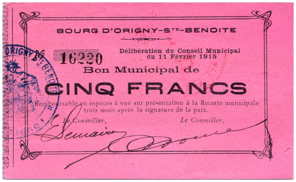 France 5 Francs Origny-Sainte-Benoite Bon Municipal - 1915