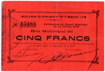 France 5 Francs Origny-Sainte-Benoite City - 1915