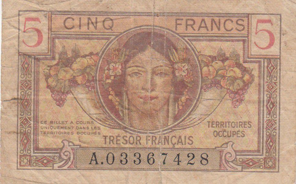 France 5 Francs Portrait de femme - 1947