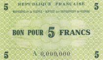 France 5 Francs Prisonniers de Guerre - 1945 Spécimen
