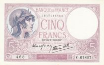 France 5 Francs Puple- 24-08-1939 -Serial G.61807 - UNC