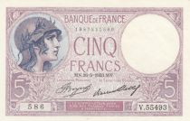 France 5 Francs Puple- 26-05-1933 - Serial V.55493 - UNC