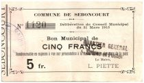 France 5 Francs Seboncourt Commune - 1915