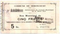 France 5 Francs Seboncourt Commune - 1915