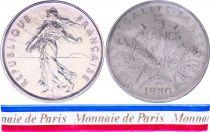France 5 Francs Semeuse Piéfort 1980 - sous sachet Monnaie de Paris - Argent