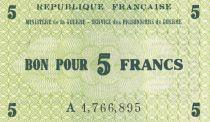 France 5 Francs Services des Prisonniers de Guerre - 1945