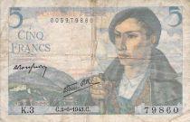 France 5 Francs Sheperd - 02-06-1943 Serial K.3 - F