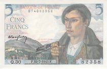 France 5 Francs Sheperd - 22-07-1943 Serial Q.30 - XF