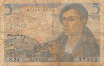 France 5 Francs Shepherd - 02-06-1943 Serial S.24 - G+