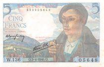 France 5 Francs Shepherd - 05-04-1945 Serial W.136 - AU+