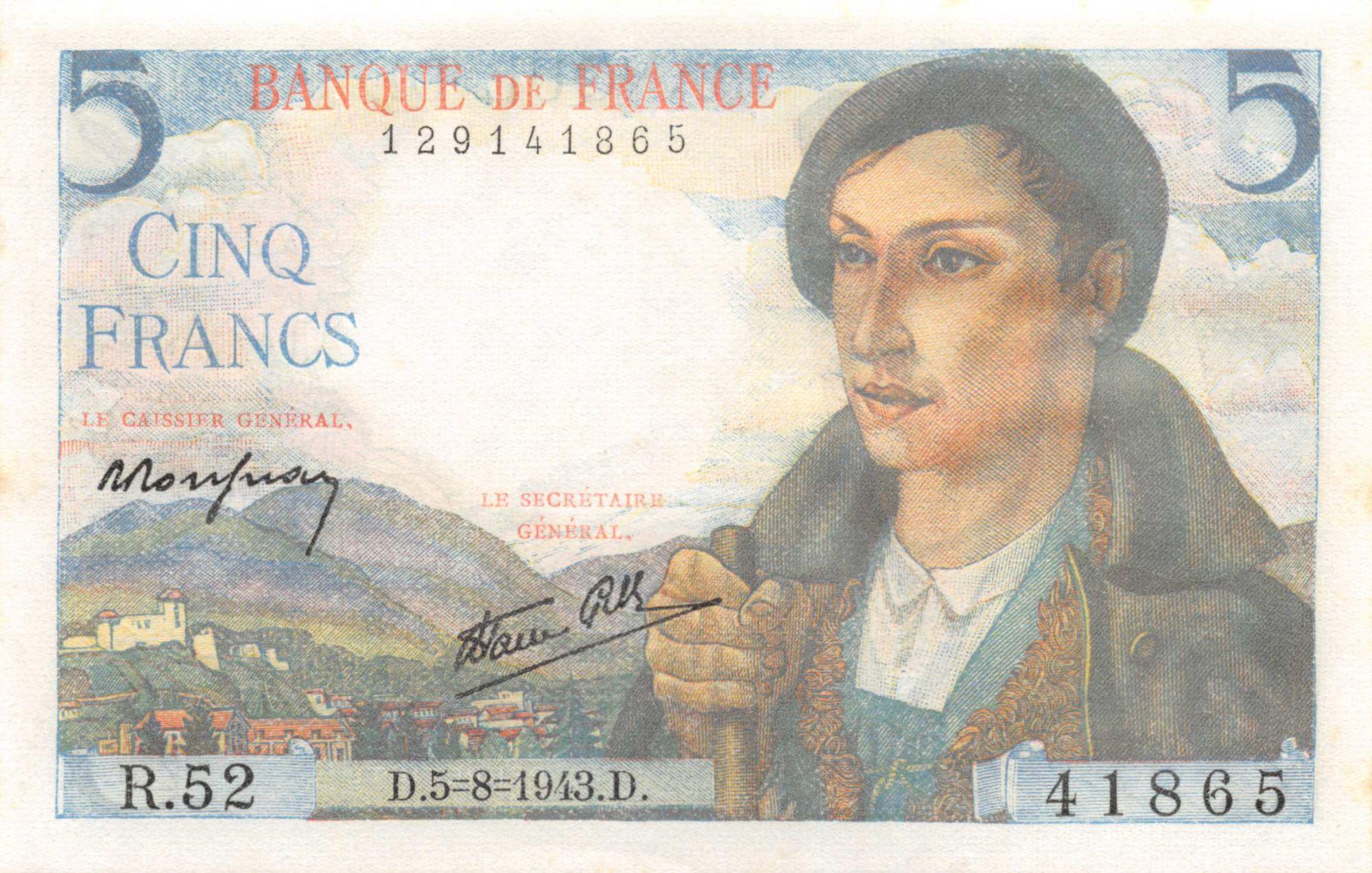 France 5 Francs Shepherd - 05-08-1943 Serial R.52 - aUNC