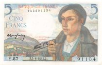 France 5 Francs Shepherd - 05-08-1943 Serial Y.57 - aUNC
