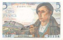France 5 Francs Shepherd - 05-08-1943 Serial Y.57 - aUNC