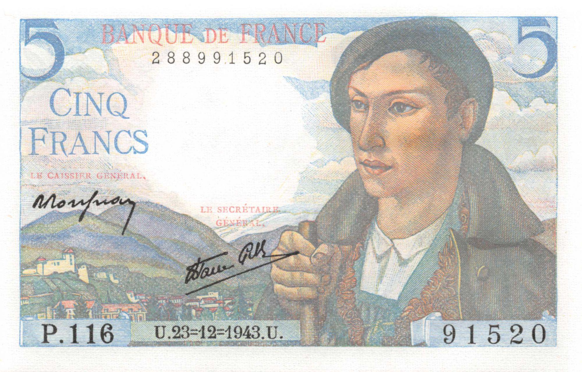 France 5 Francs Shepherd - 23-12-1943 Serial P.116 - UNC