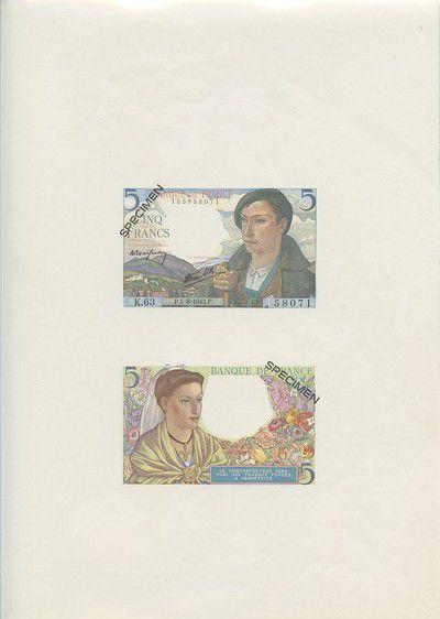 France 5 Francs Shepherd - Specimen sheet - 1967