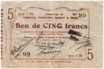 France 5 Francs Tergnier Fargnier Quessy Commune - 1914