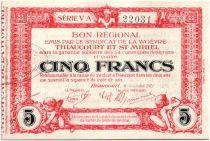France 5 Francs Thiaucourt-St-Mihiel Bon régional