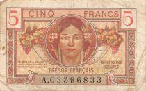 France 5 Francs Trésor Francais - Portrait de femme - 1947 A 03396833 - TB+