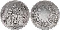 France 5 Francs Union et Force - An 4 A Paris