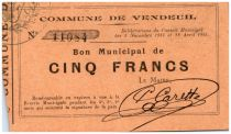 France 5 Francs Vendeuil City - 1914 - 1915