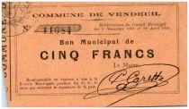 France 5 Francs Vendeuil City - 1914 - 1915