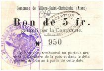 France 5 Francs Villers-Saint-Christophe City - 1915