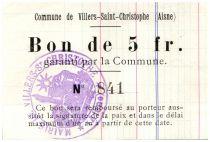 France 5 Francs Villers-Saint-Christophe Commune - 1915