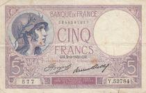 France 5 Francs Violet - 02-03-1933 -Série Y.53784
