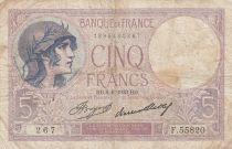 France 5 Francs Violet - 08-06-1933 -Série F.55820