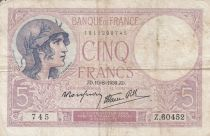 France 5 Francs Violet - 10-08-1939 -Série Z.60452