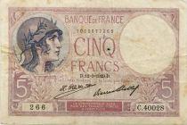 France 5 Francs Violet - 12-03-1929 Série C.40028  - TTB