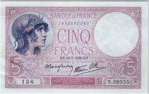 France 5 Francs Violet - 13-07-1939 Série N.58355