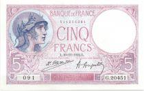 France 5 Francs Violet - 1924