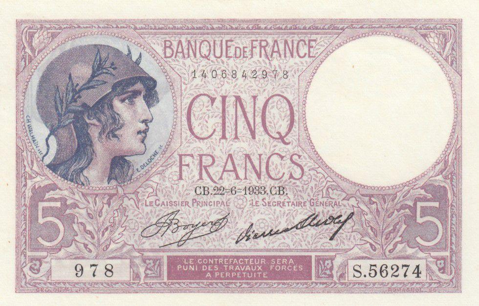 France 5 Francs Violet - 1933