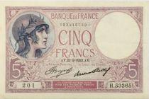 France 5 Francs Violet - 23-02-1933 Série H.53365  - SUP