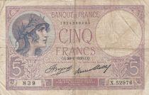France 5 Francs Violet - 26-01-1933 -Série X.52976