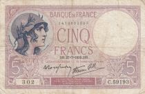 France 5 Francs Violet - 27-07-1939 -Série C.59193